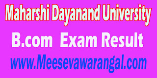 Maharshi Dayanand University B.com VI Sem (Vocational) 2016 Exam Result