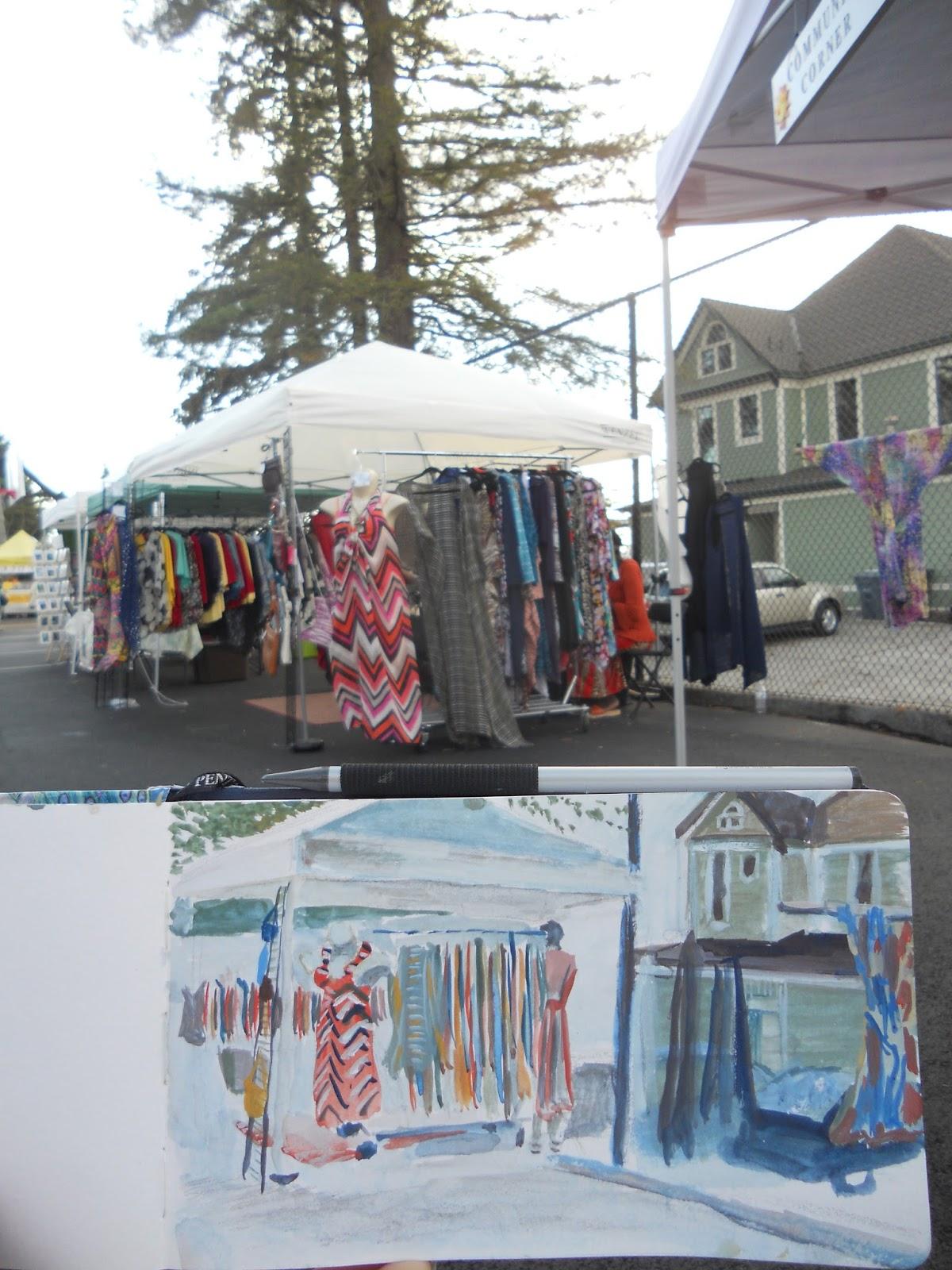 Urban Sketchers Tacoma: September's open market urban sketching