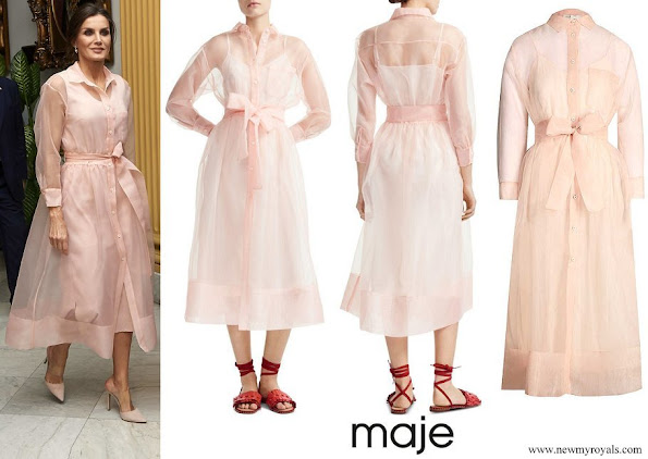 Queen Letizia wore MAJE Roane Semi-Sheer Organza Midi Dress in Pink