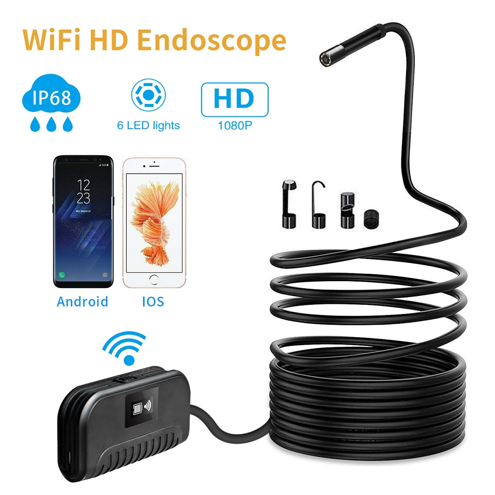 Wifi Hd 2m 1080p Borescope Ip68 Waterproof 6 Led Lights Built In Jet Iii Pro St Flashlight Broad Voltage Circuit Cree R5 2600mah Rechargeable Lithium