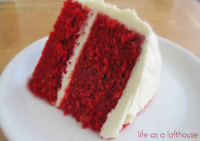 A traditional, moist red velvet cake covered in a delicious cream cheese frosting. Life-in-the-Lofthouse.com