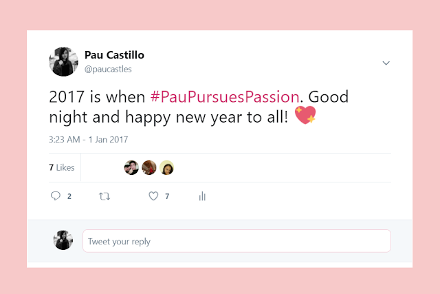pau castillo - pau pursues passion tweet - paucastles twitter