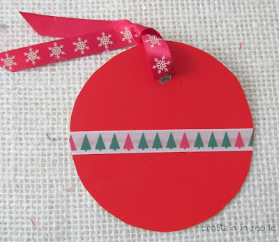 Red paint chip Christmas tag