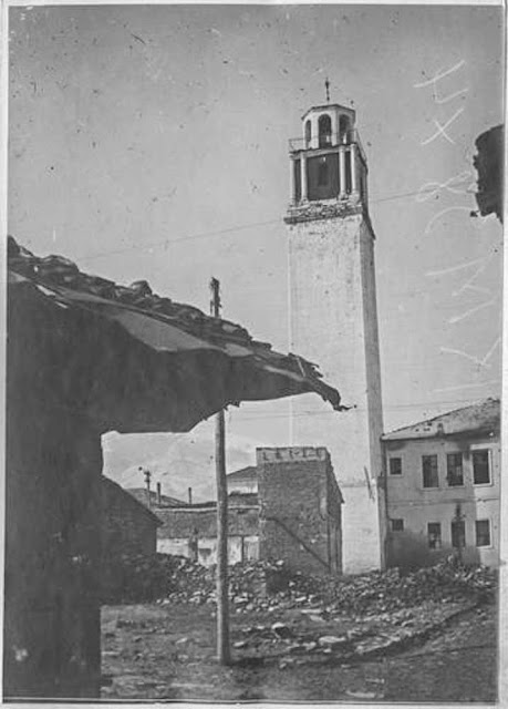In the streets of Bitola (Monastir) - March 1917.  The Clock Tower