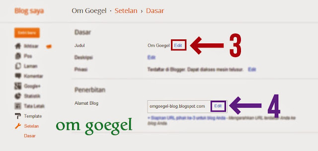 Edit Judul/ Title Blog (nomor 3) Edit Alamat/ address blog (nomor 4)