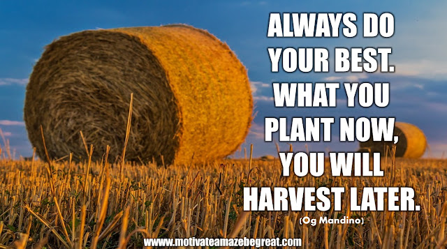 "The Meaning Behind 31 Motivational Quotes: ""Always do your best. What you plant now, you will harvest later."" - Og Mandino"