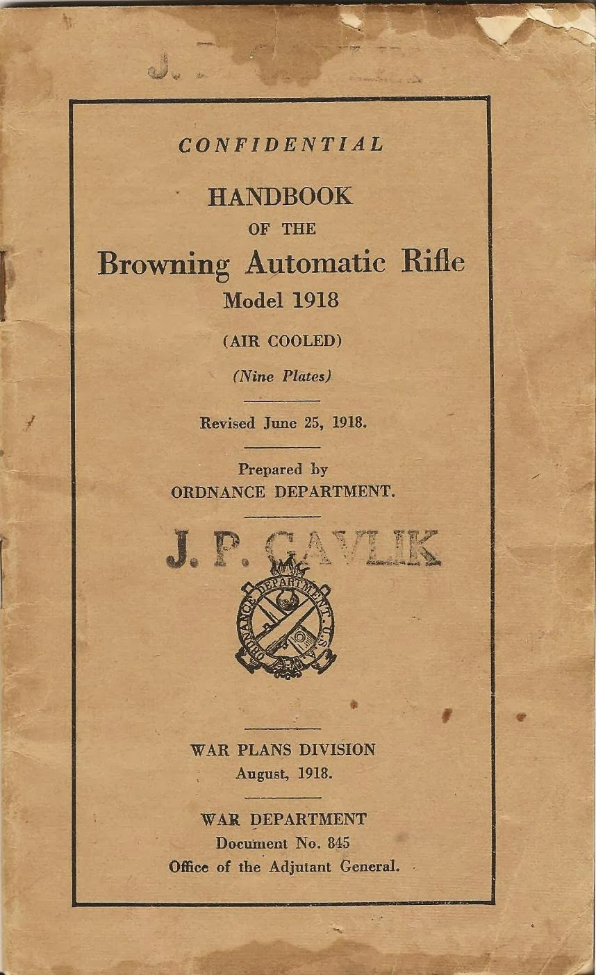 Handbook Model 1918 BAR Browning Automatic Rifle