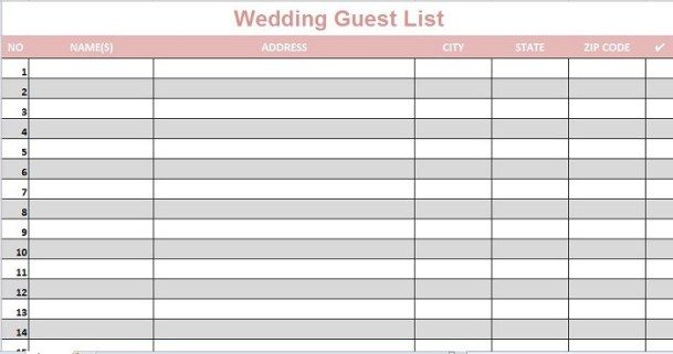 Simple Wedding Guest List Templates - Excel Template