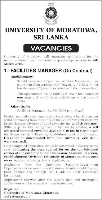 Vacancies – Facilities Manager - University of Moratuwa