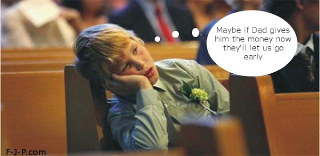 Funny Bored Boy Church Picture - maybe if dad give him the money now they'll let us go early