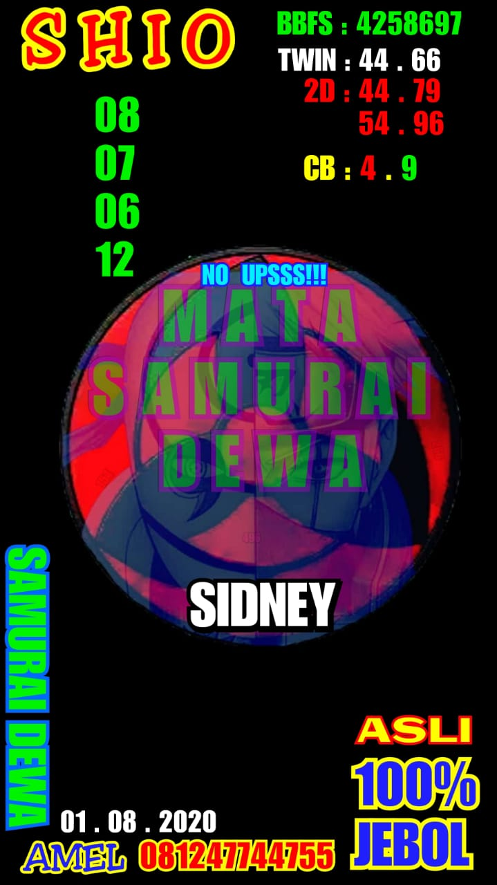Kode syair Sydney Sabtu 1 Agustus 2020 14