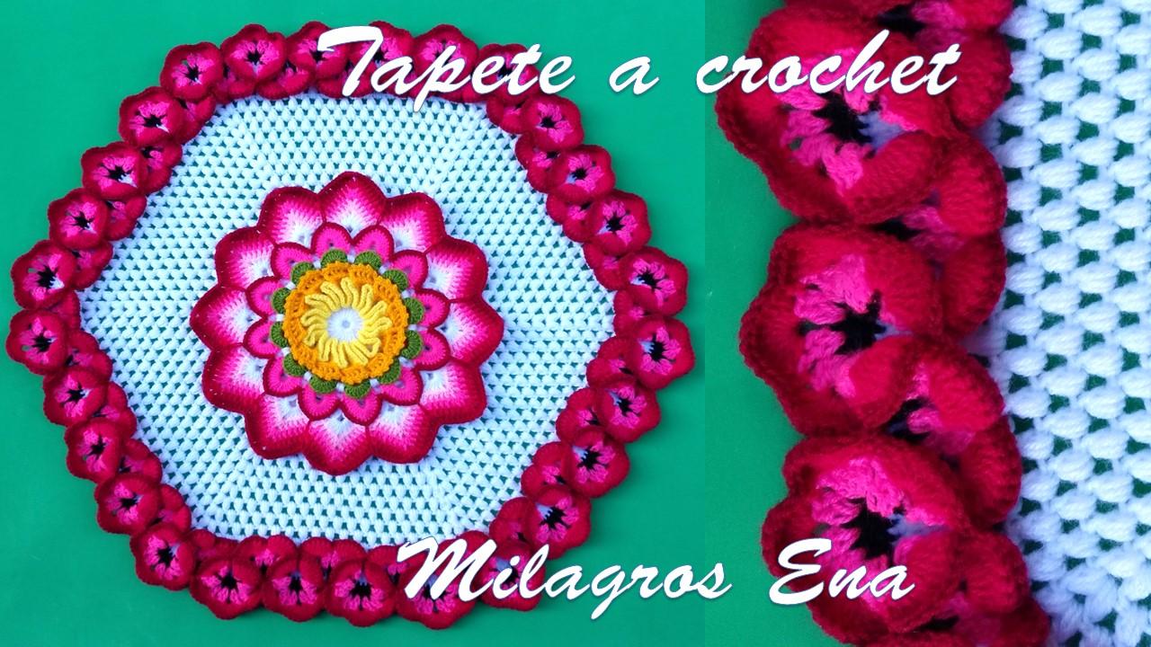 Milagros Ena Tapete A Crochet Con Flores Pensamiento Paso A Paso
