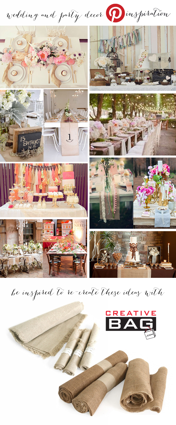 wedding and party decor inspiration using burlap and line  from Creative Bag