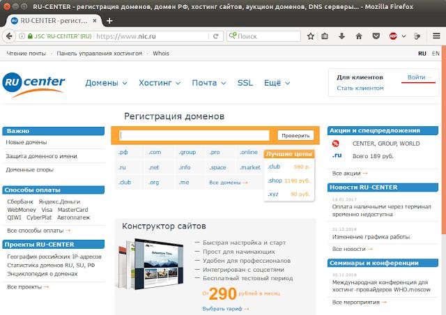 Сайт nic.ru