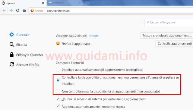 Firefox pagina Opzioni aggiornamenti automatici