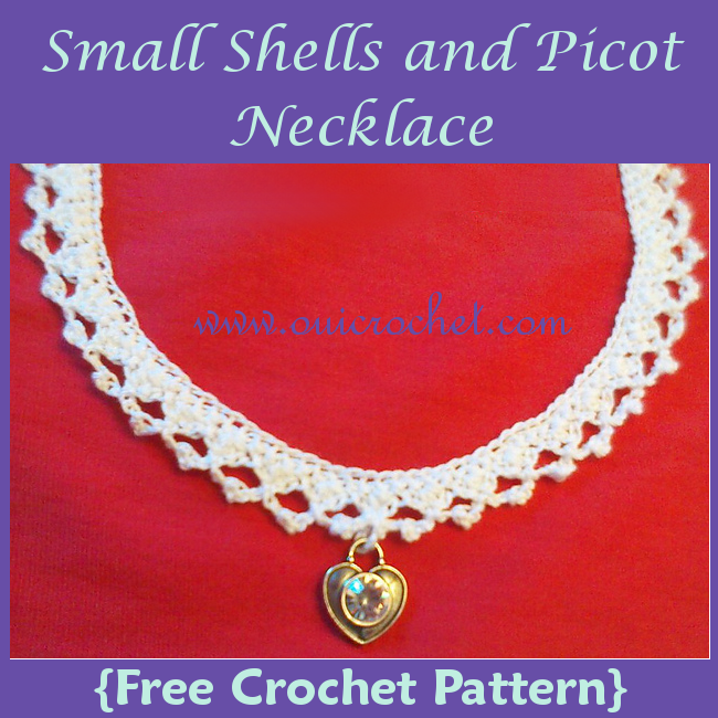 Crochet, Free Crochet Pattern, Crochet Jewelry, Crochet Necklace, Small Shells and Picot Necklace,
