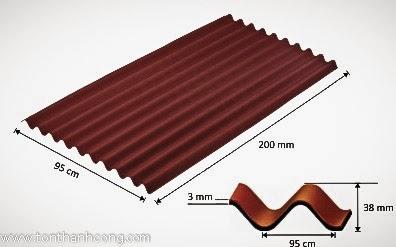 Tấm lợp sinh thái Onduline - quy cách tấm, bước sóng, chiều cao sóng tôn