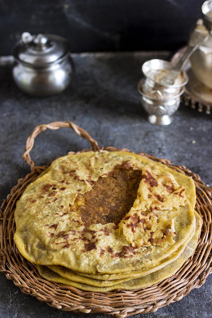 Bele holige, obbattu, puran poli, sweet lentil stuffed flatbread