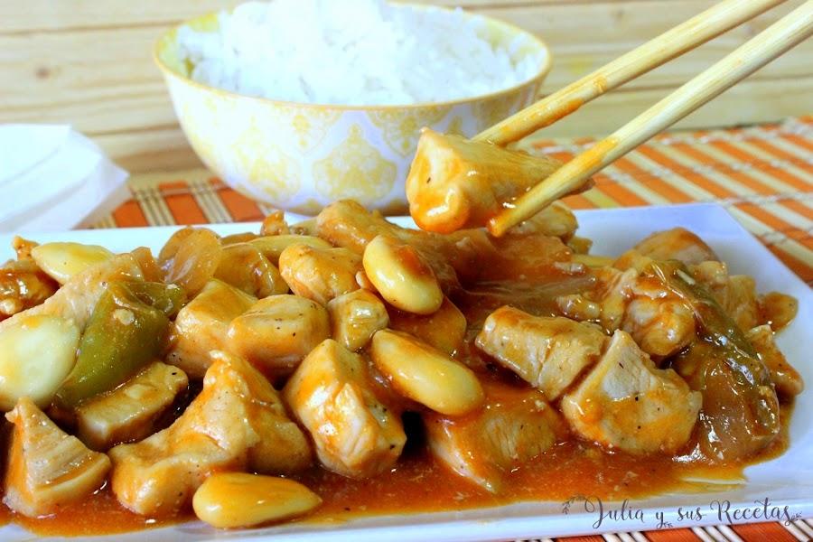 Pollo con almendras chino. Julia y sus recetas