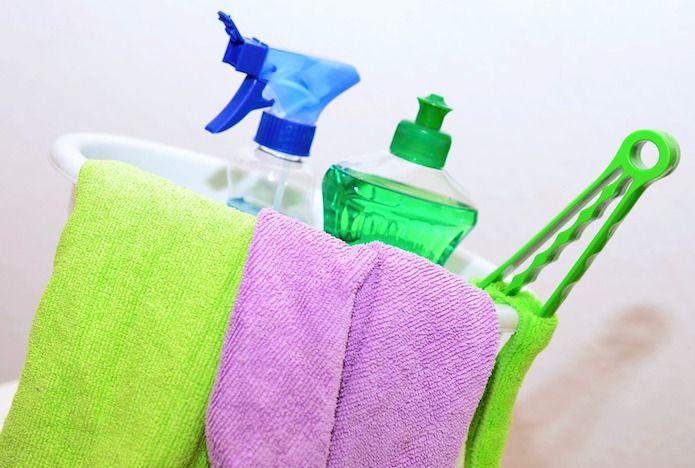 objetos de limpieza,  cubo, limpiador, bayetas