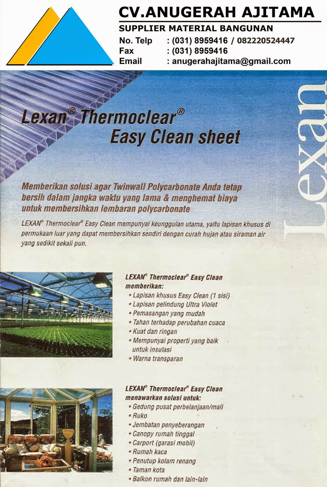 ATAP POLYCARBONATE LEXAN EASY CLEAN
