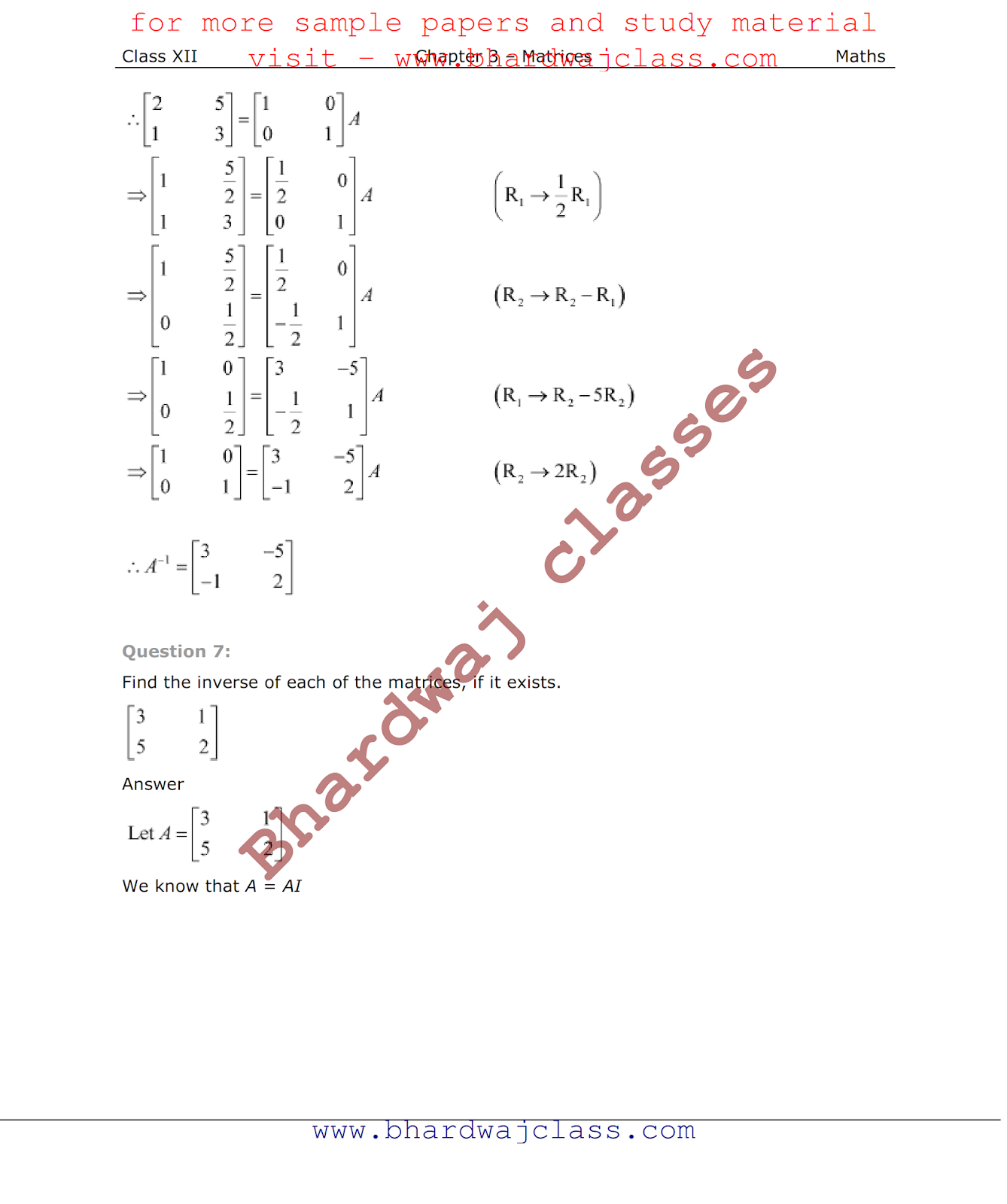 Class 12 Maths NCERT Solutions chapter 3 matrix