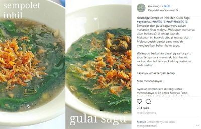 Makanan Melayu Pekanbaru Riau Sempolet ataupun Gulai Sagu Lemak