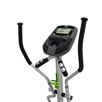 Universal E40 console with large LCD screen, battery or electric powered option, with 7 programs, 8 resistance levels, pulse heart-rate sensors in static handlebars, MP3 input with speakers, media shelf
