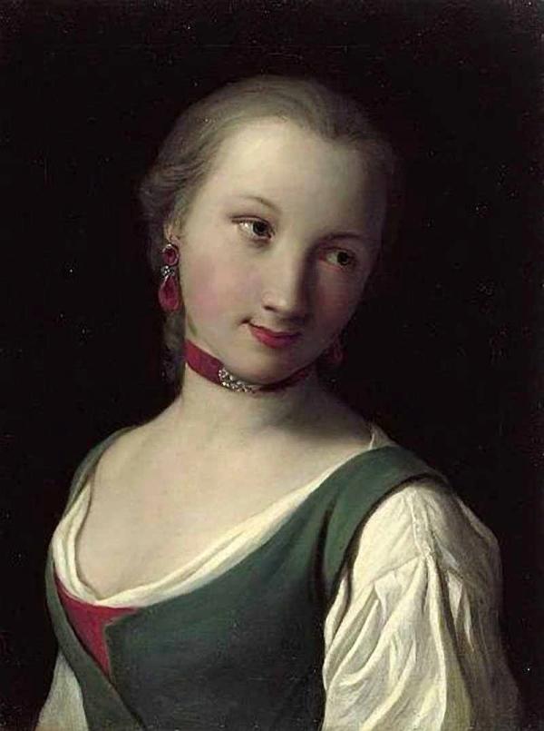 Ротари Пьетро Антонио Pietro Antonio Rotari Портрет девушки в зеленом жилете и белой блузке