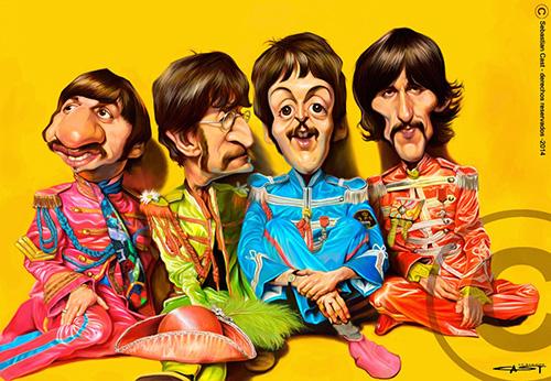 "Caricaturas de ""The Beatles"" por Sebastián Cast"