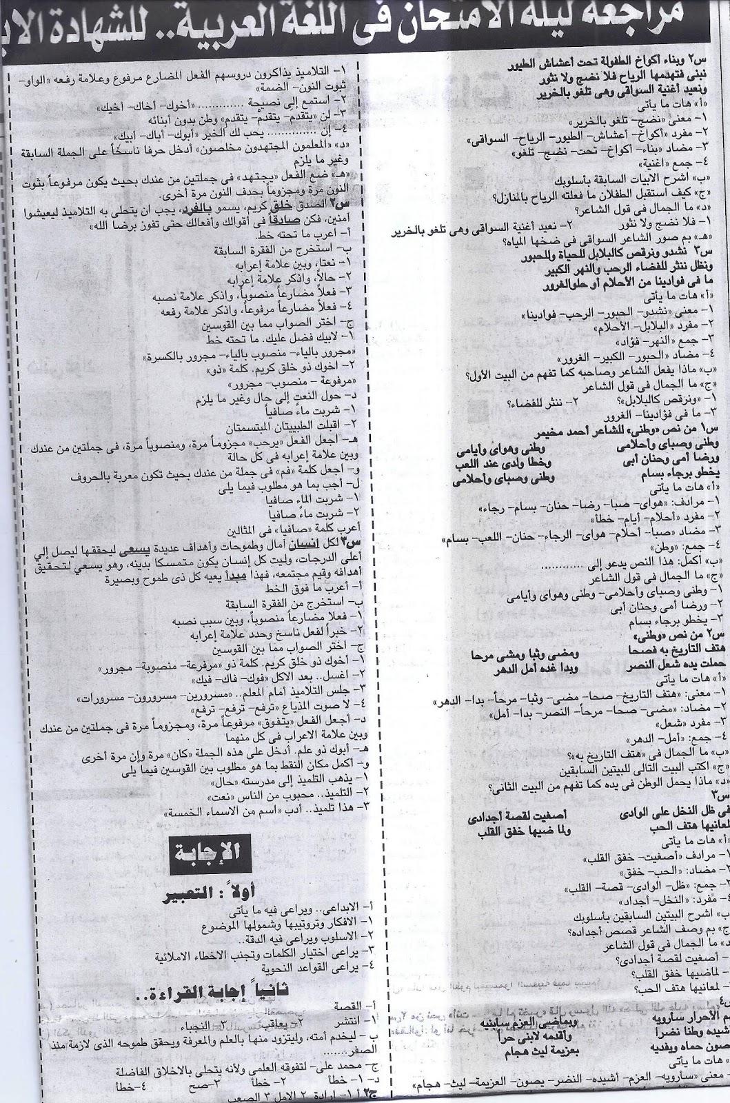 بنك سؤال وجواب لغة عربية الشهادة الابتدائية لن يخرج عنة امتحان اخر العام - ملحق الجمهورية 7/5/2016 5