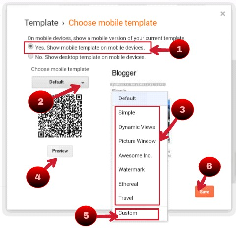 tick on yes show mobile template on mobile devices