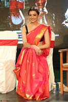 Kajal Aggarwal in Red Saree Sleeveless Black Blouse Choli at Santosham awards 2017 curtain raiser press meet 02.08.2017 090.JPG