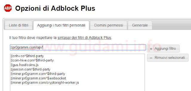 Opzioni  aggiungi filtri personali dell'estensione Adblock Plus