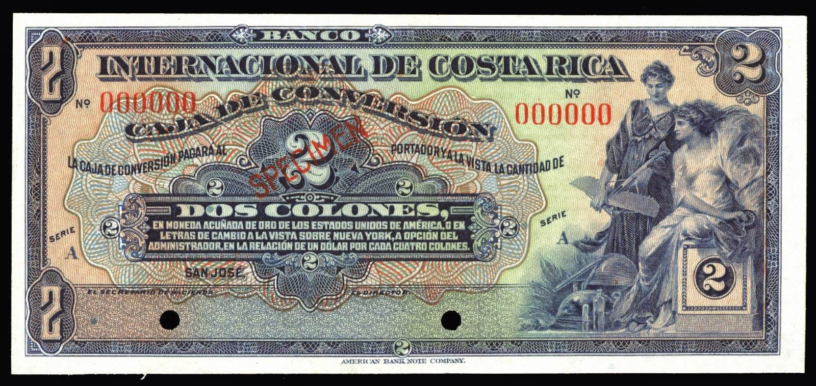 Costa Rica 2 Colones banknote 1924 Allegorical woman standing with model airplane