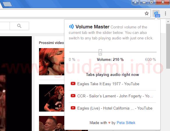 Volume Master estensione Chrome menu gestione volume schede aperte