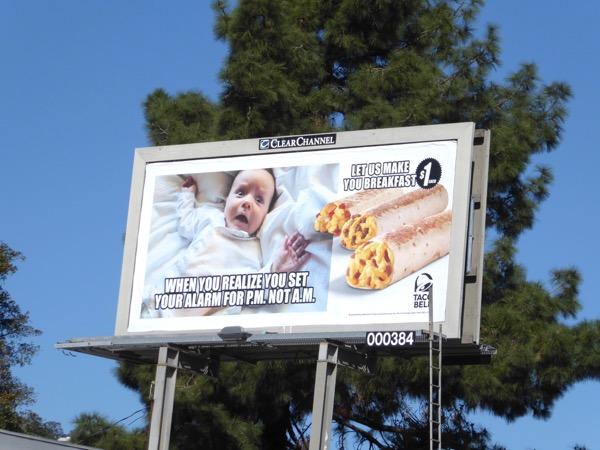 Taco Bell alarm baby meme billboard