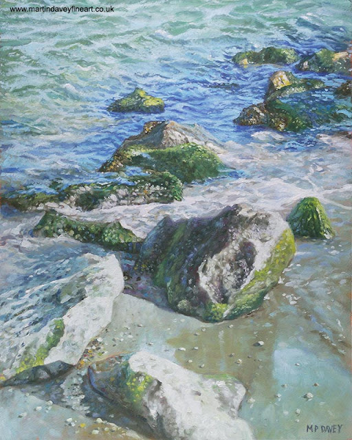 seaside rocks with sea water oil painting by M P Davey