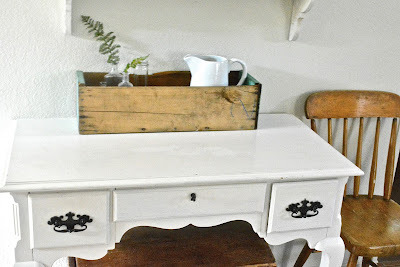 White Desk, Green Tool Box
