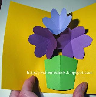 3 flower pop up card finished card
