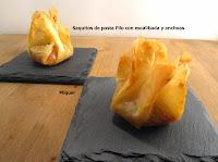 Saquitos de pasta filo con escalibada y anchoas