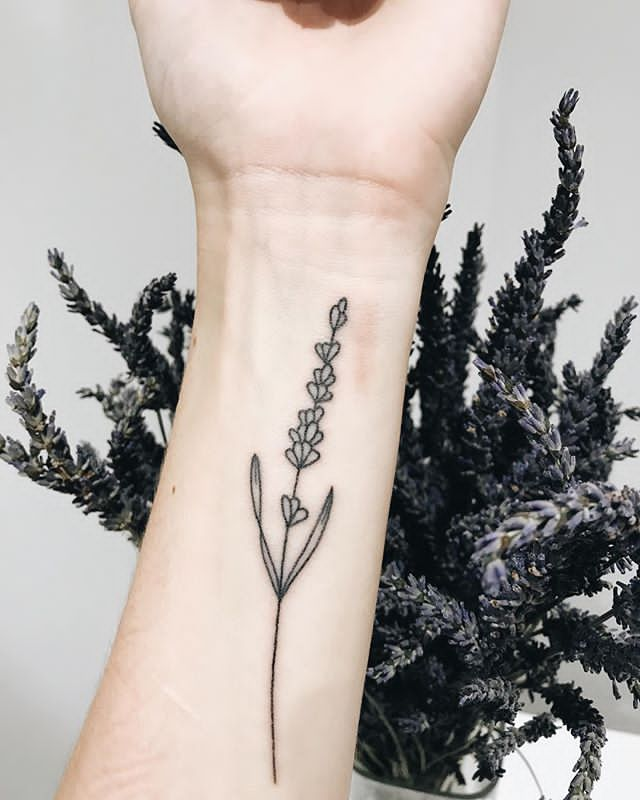 lavender tattoo on forearm