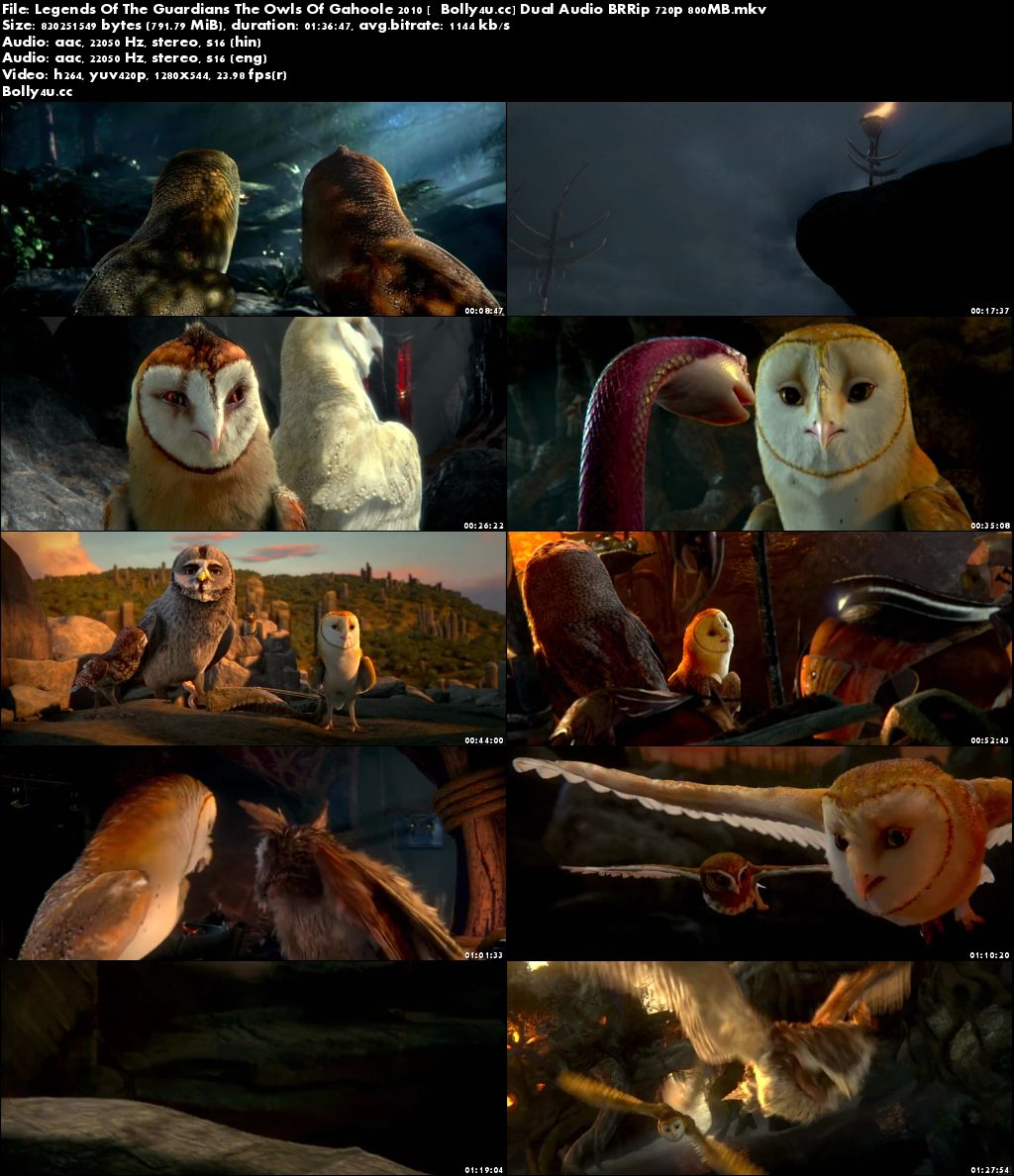 Legends Of The Guardians The Owls Of Gahoole 2010 BRRip 300MB Hindi Dual Audio 480p Download