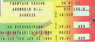 Squeeze ticket stub 1981 at The Fountain Casino NJ