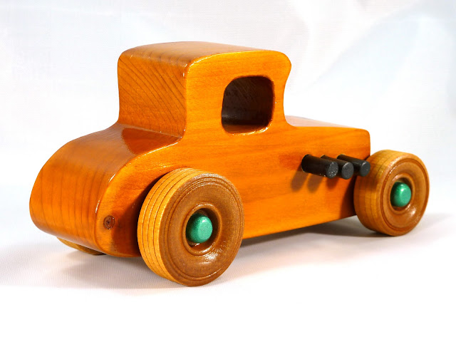 Right Rear - Wooden Toy Car - Hot Rod Freaky Ford - 37 T Coupe - Pine - Amber Shellac - Metallic Green Hubs