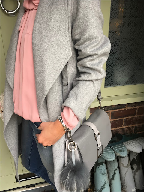 My Midlife Fashion, Laura Ashley tie waist wrap coat, village england fulmer bag, somerset by alice temperleuy bow blouse