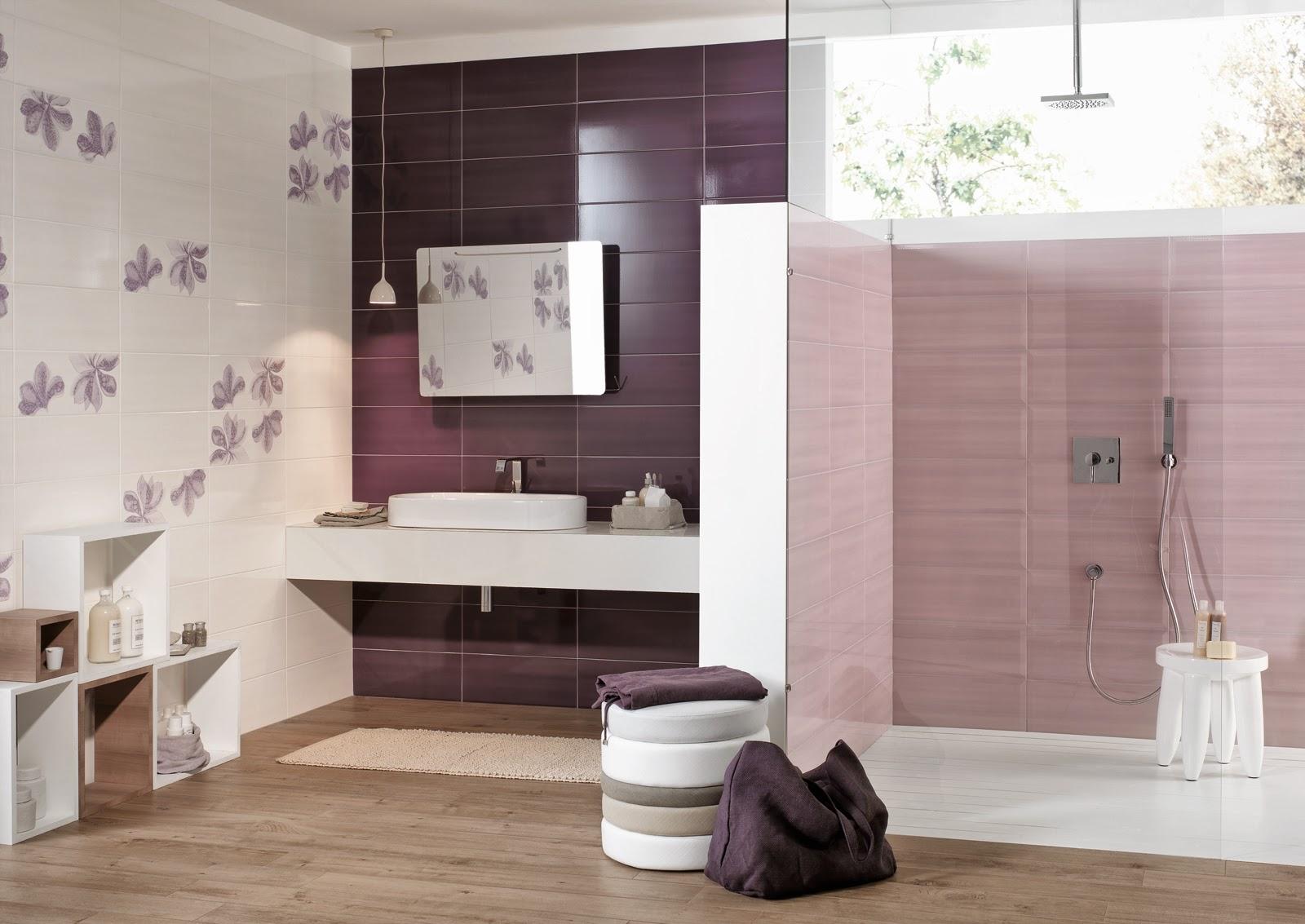 Piastrelle bagno mosaico viola mosaico bagno grigio