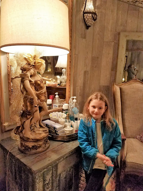 It's fancy inside Raleigh's Angus Barn Ladies Room. Kids love it.