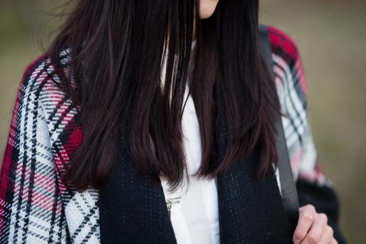 Ponczo w kratę | biała koszula | blogerka | krata | stylizacja boho