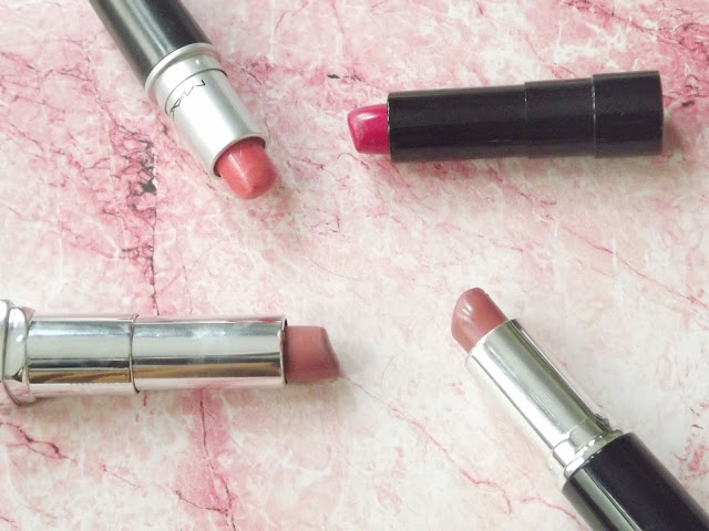 pink lipstick review, amyleehaynes, dolly daydream, mac, maybelline, MUA, bare minerals